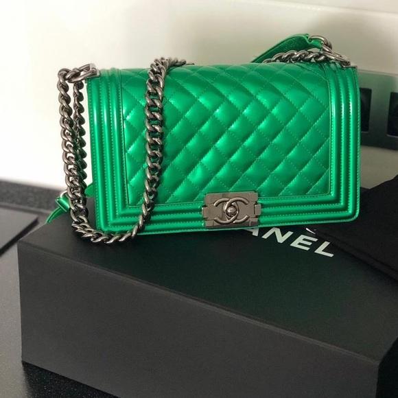 CHANEL Handbags - Chanel Green Old Medium Le Boy Bag